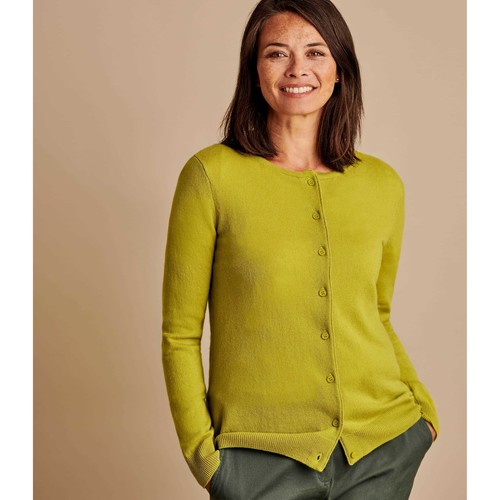 Clothing Women Jackets / Cardigans Woolovers Cashmere Merino Classic Crew Neck Cardigan Green