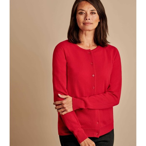 Clothing Women Jackets / Cardigans Woolovers Cashmere Merino Classic Crew Neck Cardigan Red