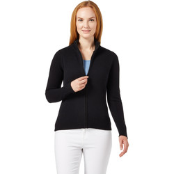 Clothing Women Jackets / Cardigans Woolovers Lambswool Fitted Zip Thru Cardigan Black