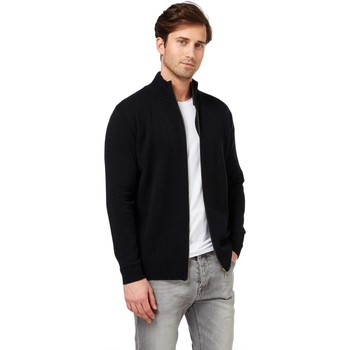 Clothing Men Jackets / Cardigans Woolovers Lambswool Lincoln Zipper Cardigan Black