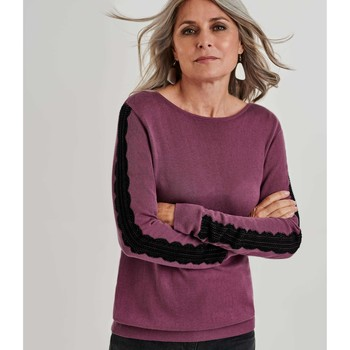 Clothing Women Jumpers Woolovers Lace Sleeve Detail Jumper Purple