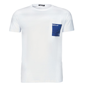 Clothing Men Short-sleeved t-shirts Replay M3396-2660 White / Blue