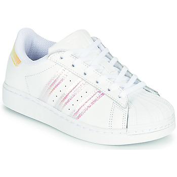 Shoes Girl Low top trainers adidas Originals SUPERSTAR J White / Iridescent