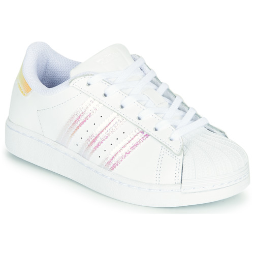 Shoes Girl Low top trainers adidas Originals SUPERSTAR C White / Iridescent