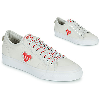 Shoes Women Low top trainers adidas Originals NIZZA  TREFOIL W White / Red