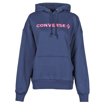 Clothing Women Sweaters Converse EMBROIDERED WORDMARK HOODIE Blue