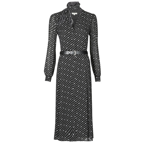Clothing Women Long Dresses MICHAEL Michael Kors CIRCLE LOGO SHRT DRS Black / White