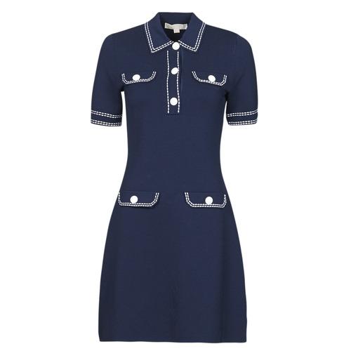 Clothing Women Short Dresses MICHAEL Michael Kors CONTRAST STITCH BUTTON DRESS Marine