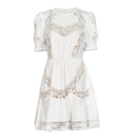 Clothing Women Short Dresses MICHAEL Michael Kors EYELETS EMB SMCK DRESS White