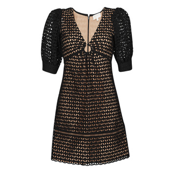 Clothing Women Short Dresses MICHAEL Michael Kors GEO EYELET MINI DRESS Black