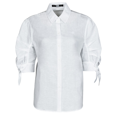 Clothing Women Shirts Karl Lagerfeld LINENSHIRTW/BOWS White