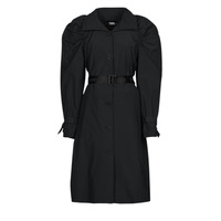 Clothing Women Trench coats Karl Lagerfeld DRAPEDTRENCHCOAT Black