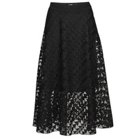 Clothing Women Skirts Karl Lagerfeld KARLEMBROIDEREDMESHSKIRT Black