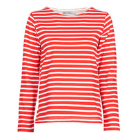 Clothing Women Long sleeved tee-shirts Petit Bateau  White / Red