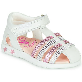 Shoes Girl Sandals Pablosky ELLA White / Pink