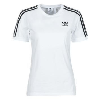 Clothing Women Short-sleeved t-shirts adidas Originals 3 STRIPES TEE White