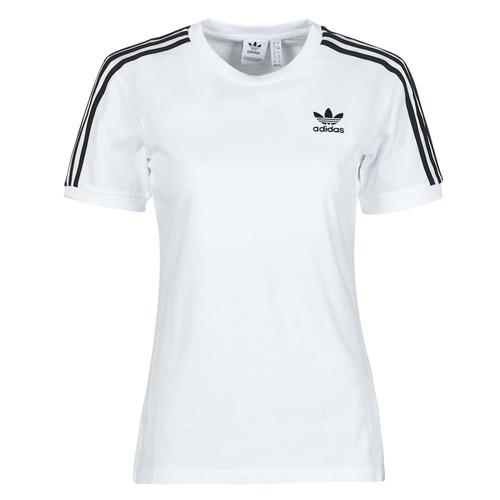 Clothing Women Short-sleeved t-shirts adidas Originals 3 STRIPES TEE White