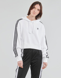 Clothing Women Sweaters adidas Originals SHORT HOODIE White