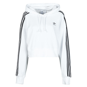 Clothing Women Sweaters adidas Originals SHORT HOODIE White