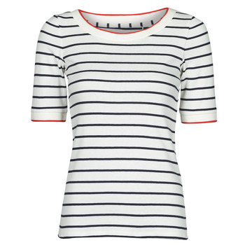 Clothing Women Short-sleeved t-shirts Esprit RAYURES COL ROUGE White