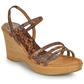 Shoes Women Sandals Unisa RENERA Brown / Python