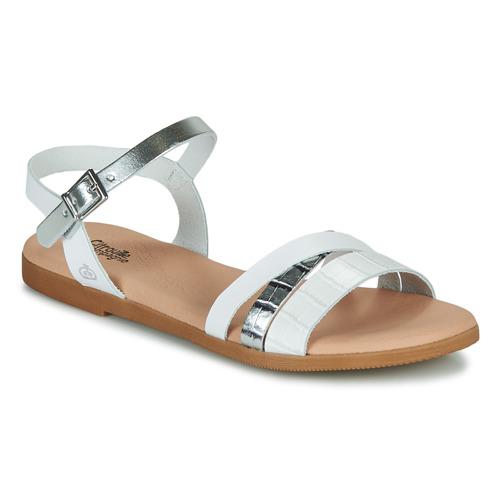 Shoes Girl Sandals Citrouille et Compagnie OBINOU White / Silver