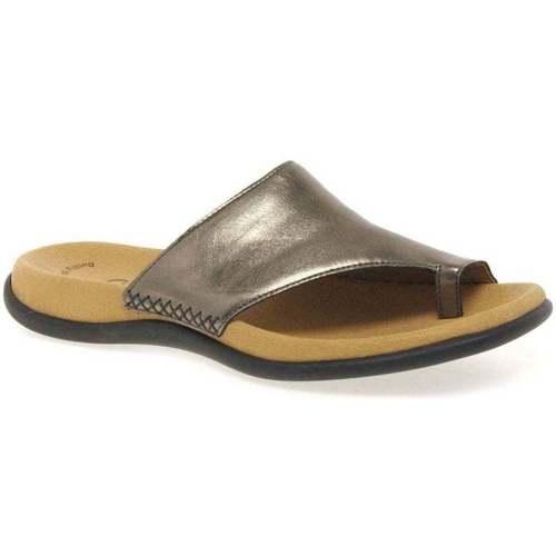 Shoes Women Flip flops Gabor Lanzarote Toe Loop Womens Mules Silver