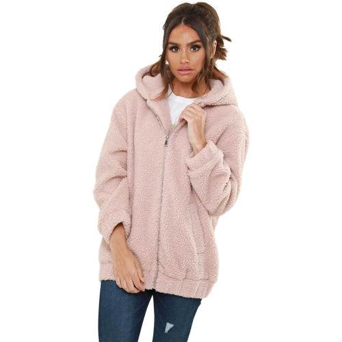 Clothing Women Coats Urban Bliss – Lexi Borg Hooded Bomber Jacket Pink