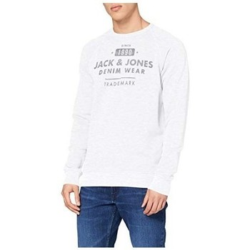 Clothing Men Sweaters Jack & Jones JJEJEANS WASHED SWEAT CREW NECK 12164976 White