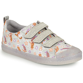 Shoes Girl Low top trainers Clarks FOXING PRINT T Silver