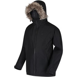 Clothing Men Parkas Regatta Haig Waterproof Insulated Fur Trimmed Hooded Jacket Black Black