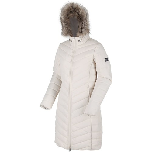 Clothing Women Duffel coats Regatta Fritha Insulated Quilted Fur Trimmed Hooded Parka Jacket Cream Cream