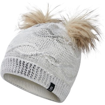 Clothes accessories Children Hats / Beanies / Bobble hats Dare 2b Girls' Genius Cable Knit Faux Fur Bobble Beanie White
