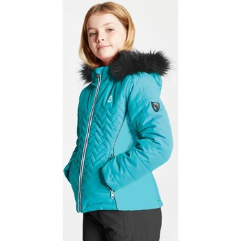Clothing Children Coats Dare 2b Girls' Snowdrop Waterproof Fur Trim Hooded Ski Jacket Green