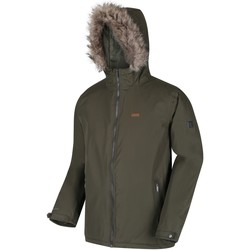 Clothing Men Macs Regatta Men's Haig Waterproof Insulated Fur Trimmed Hooded Jacket Green
