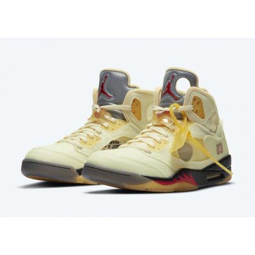 Shoes Hi top trainers Nike Air Jordan 5 Off White Sail Sail/Fire Red-Muslin-Black