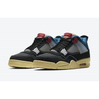 Shoes Low top trainers Nike Jordan 4 x LA Union Black Off Noir/Brigade Blue-Dark Smoke Grey-Light Fusion Red