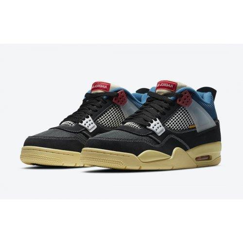 Shoes Low top trainers Nike Jordan 4 x LA Union Black Off Noir/Brigade Blue-Dark Smoke Grey-Light Fusion Red