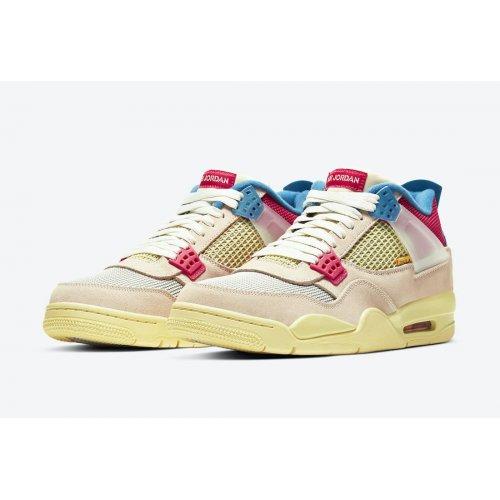 Shoes Hi top trainers Nike Jordan 4 x LA Union Guava Guava Ice/Light Bone-Brigade Blue-Light Fusion Red