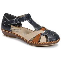 Shoes Women Sandals Rieker BLUE Blue / Brown