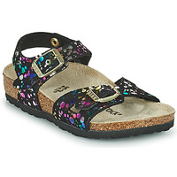 Shoes Girl Sandals Birkenstock RIO Black / Multicolour