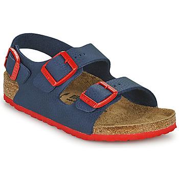 Shoes Boy Sandals Birkenstock MILANO Blue / Red