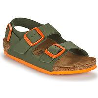 Shoes Boy Sandals Birkenstock MILANO Kaki / Orange