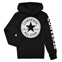 Clothing Boy Sweaters Converse SIGNATURE CHUCK PATCH HOODIE Black