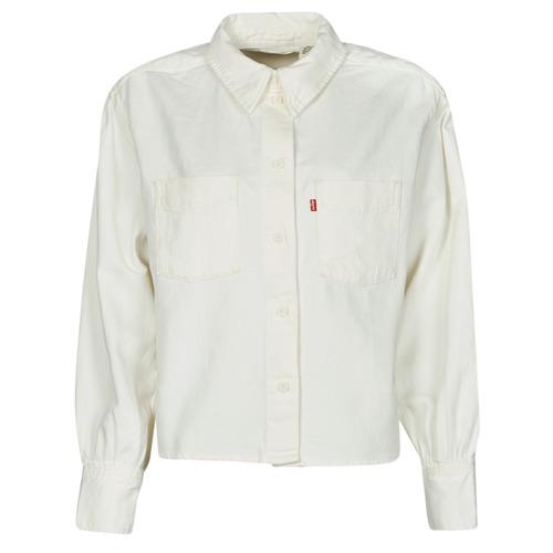 Clothing Women Shirts Levi's ZOEY PLEAT UTILITY SHIRT White