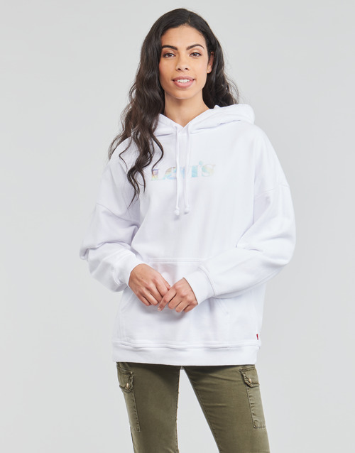 Clothing Women Sweaters Levi's GRAPHIC RIDER HOODIE White
