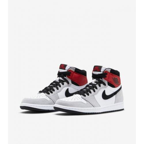 Shoes Low top trainers Nike Air Jordan 1 Light Smoke Grey White/Black-Light Smoke Grey-Varsity Red