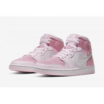 "Shoes Low top trainers Nike Air Jordan 1 Mid WMNS ""Digital Pink""  Digital Pink/White-Pink Foam-Sail"
