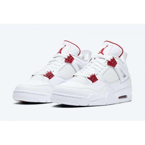 Shoes Hi top trainers Nike Air Jordan 4 Red Metallic White/University Red-Metallic Silver