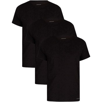 Clothing Men Short-sleeved t-shirts Calvin Klein Jeans 3 Pack Lounge Crew T-Shirts black